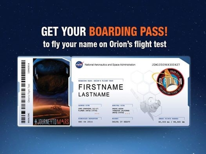 Send your name to Mars on Orion