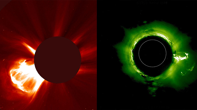 Two images of the same coronal mass ejection erupting from the sun on Aug. 24, 2014