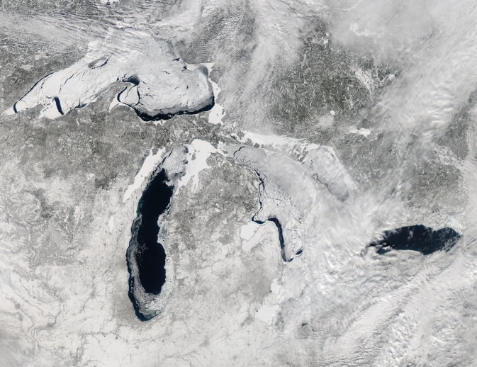 This image shows the Great Lakes on February 19, 2014, when ice covered 80.3 percent of the lakes.