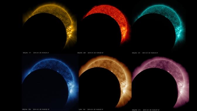 Ένα ουράνιο τόξο της σεληνιακής διελεύσεις, όπως φαίνεται από το Solar Dynamics Observatory της NASA.