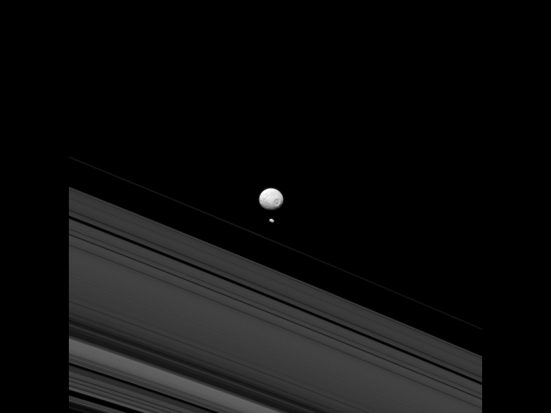 Mimas and Pandora   NASA/JPL-Caltech/Space Science Institute
