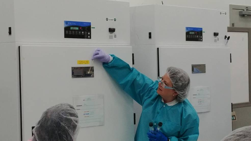 Amy Baker, SETI Project Manager, instructs proper sampling technique