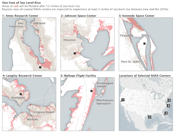Maps of several of NASA centers with areas that may flood due to sea level rise in red.