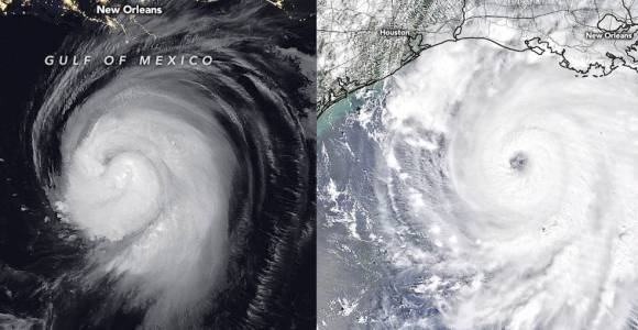 Side-by-side image of Hurricane Laura as it approaches the United States Aug. 26, 2020. The left shows a bright swirl on a black background and the right shows a white swirl on a light background.