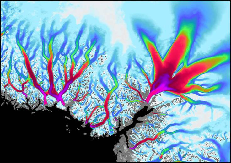 Data visualization shows the flow velocity of glaciers along Greenland's coast