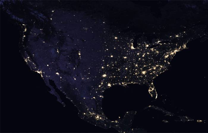 composite image of continental U.S. at night, 2016