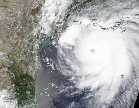 A natural color image of the powerful Category 4 Hurricane Laura in the Gulf of Mexico.
