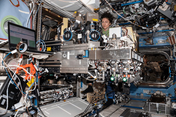 astronaut Jessica Meir at work inside the space station