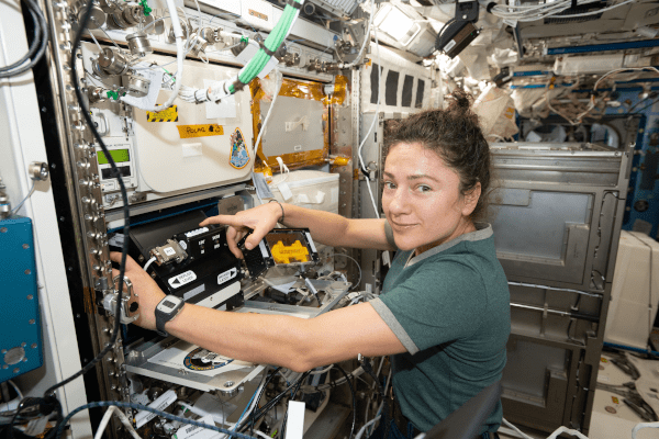 astronaut jessica meir inside the space station