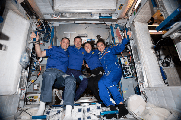 from left to right, astronauts Nick Hague, Drew Morgan, Christina Koch, and Jessica Meir