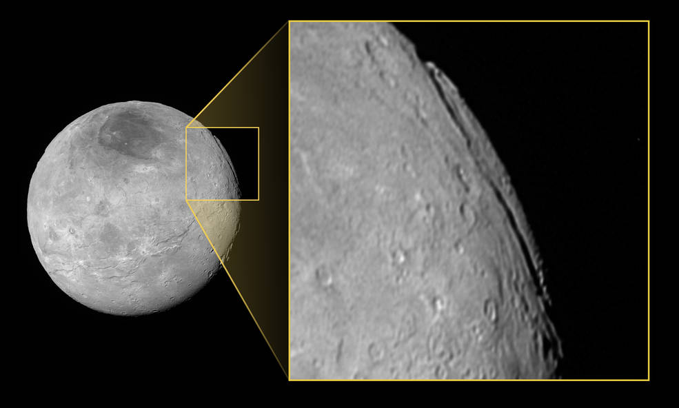 Pluto's largest moon, Charon, is home to an unusual canyon system that's far longer and deeper than the Grand Canyon.