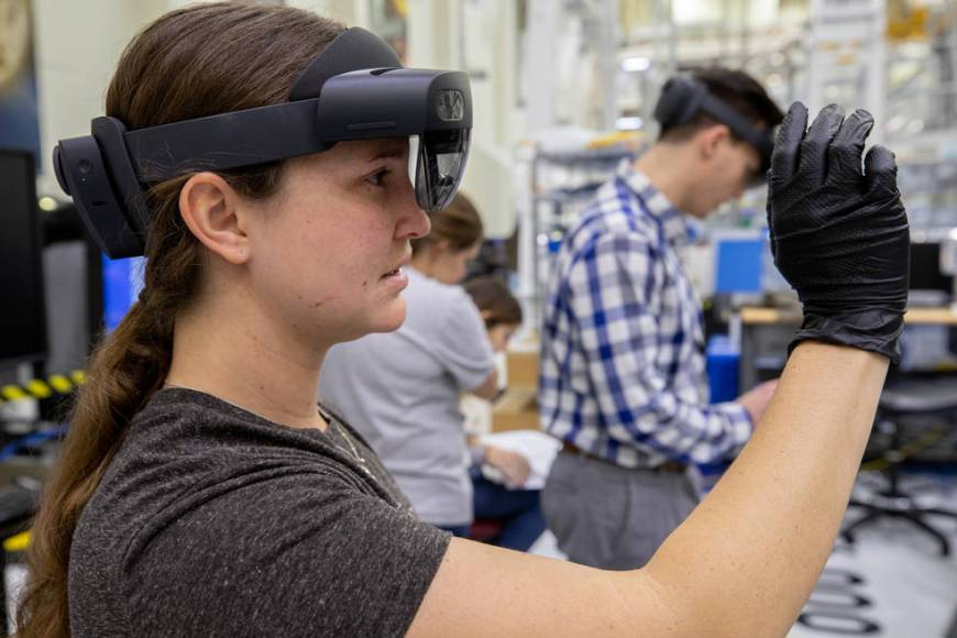 Augmented reality goggles are demonstrated on Orion hardware at NASA's Kennedy Space Center in Florida.