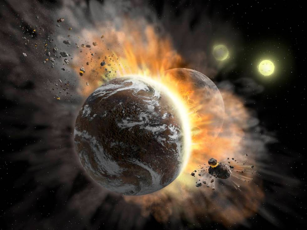 Illustration of two rocky exoplanets colliding and creating dust.
