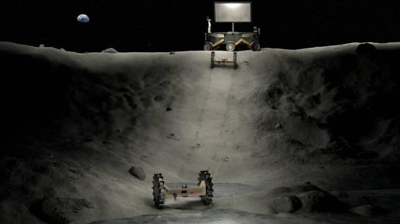 Ilustração dos conceitos de energia, iluminação e itinerante operando em uma cratera lunar.