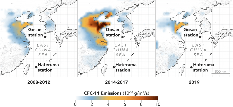 A map of stations showing the increase in CFC-11 emissions and the drop that followed their detection.