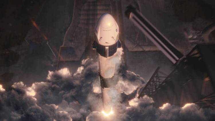 An artist concept of SpaceX's Crew Dragon and Falcon 9 lifting off from Launch Complex 39A at Kennedy Space Center.