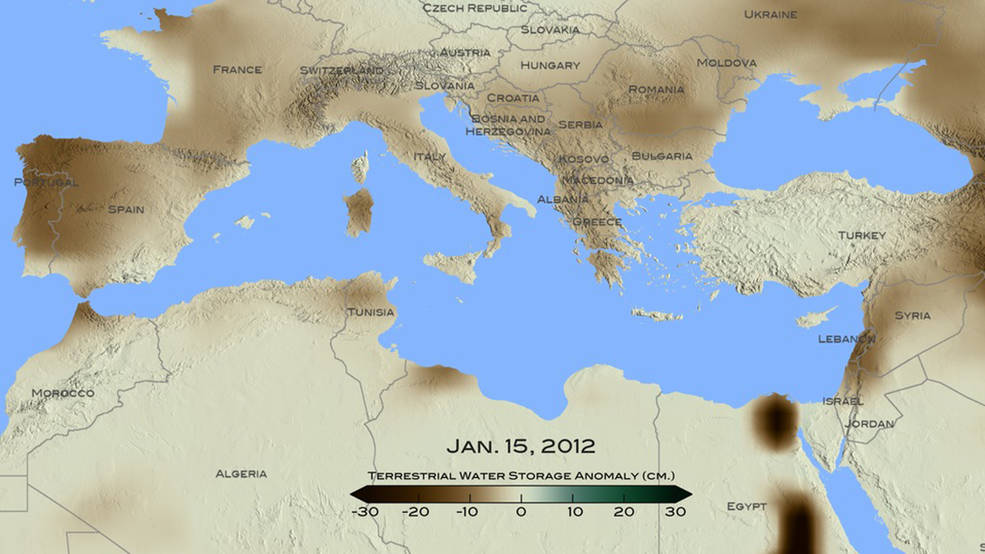 map of mediterranean with land colored with ground-water data and color bar