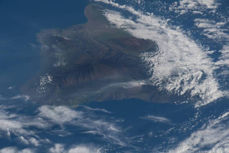 The ash plume from the Kilauea volcano on the big island of Hawaii was pictured May 12, 2018, from the International Space Stati