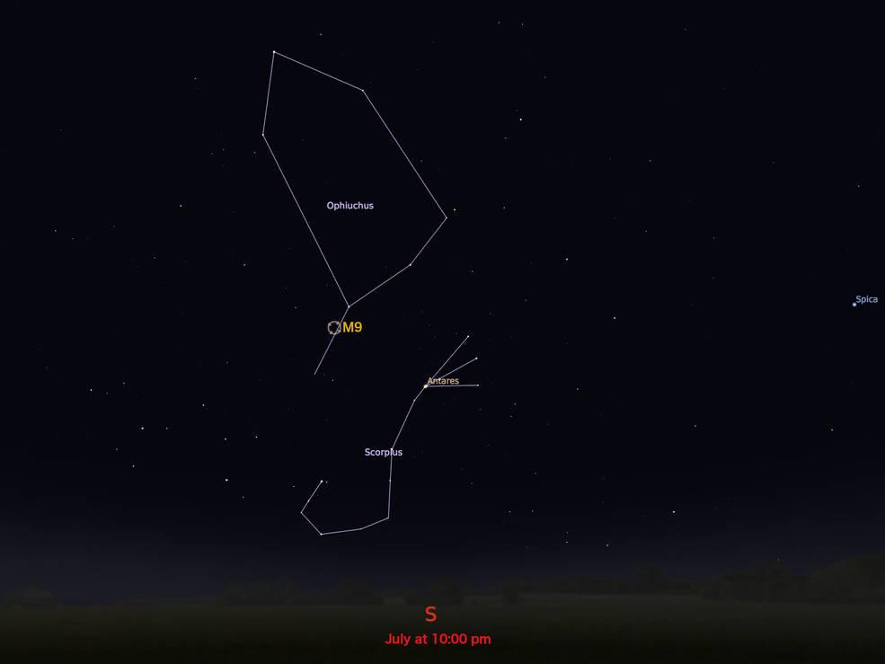mapa estelar localizador para M9