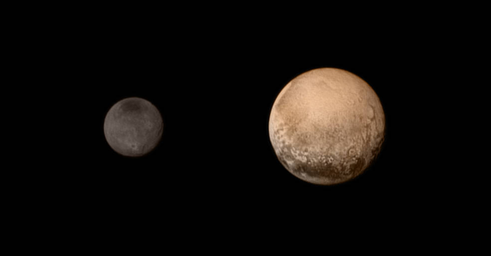 A portrait from the final approach. Pluto and Charon display striking color and brightness contrast in this composite image from July 11, showing high-resolution black-and-white LORRI images colorized with Ralph data collected from the last rotation of Pluto. Color data being returned by the spacecraft now will update these images, bringing color contrast into sharper focus.