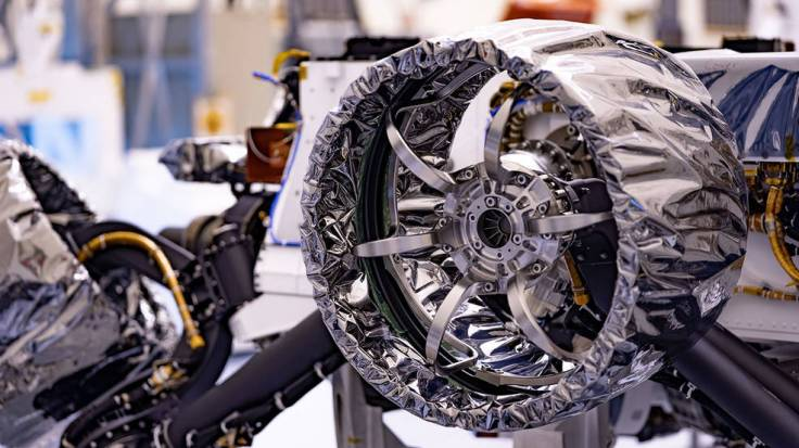 This wheel, and five others just like it, heads to Mars on NASA's Perseverance rover this summer.