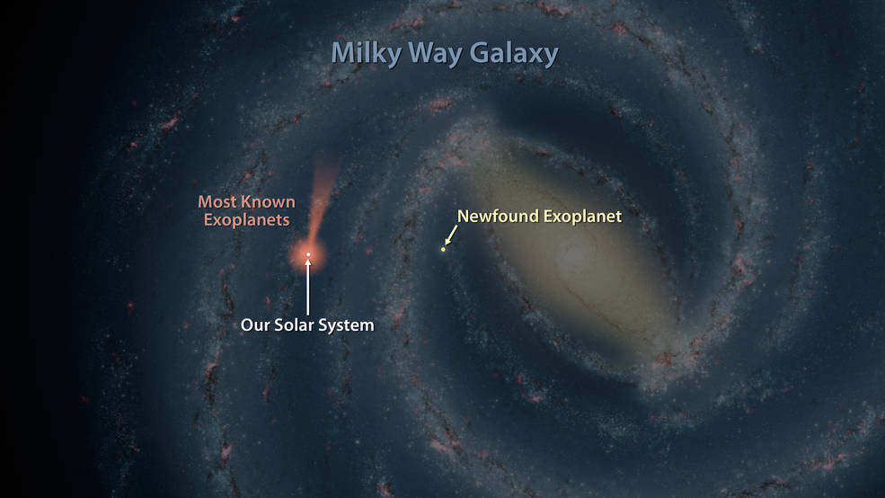 This artist's map of the Milky Way shows the location of one of the farthest known exoplanets
