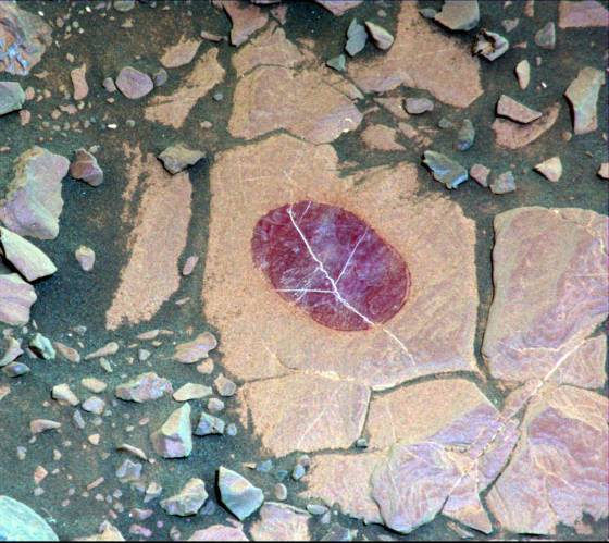 False-color image of minerals on Mars
