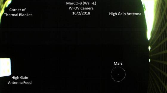 MarCo cubesat takes photo of Mars as it approaches the red planet.