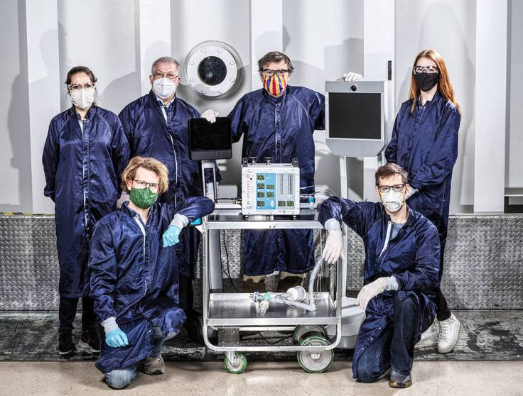 Some of the dozens of engineers involved in creating a ventilator prototype