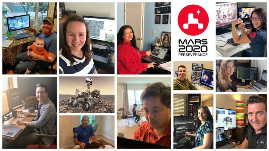Members of NASA's Perseverance rover mission work remotely