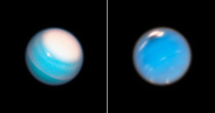 Hubble views of Uranus (left) and Neptune (right)