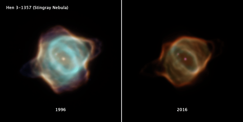 This image compares two drastically different portraits of the Stingray nebula captured by NASA's Hubble 20 years apart.