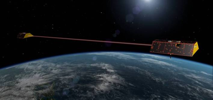 Illustration of the NASA's Gravity Recovery and Climate Experiment Follow-On (GRACE-FO) spacecraft