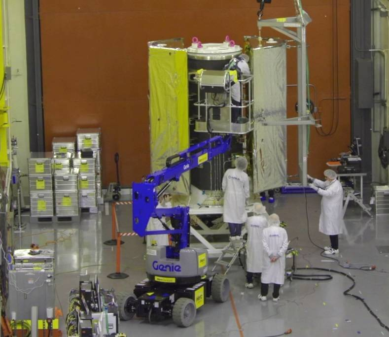 one of the twin GRACE-FO satellites is integrated with the multi-satellite dispenser structure