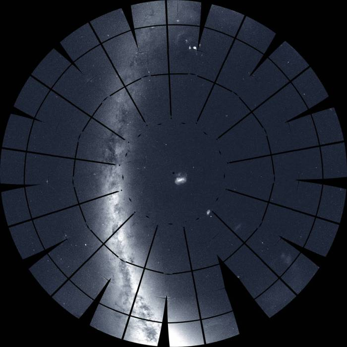 This mosaic of the southern sky was assembled from 208 images taken by TESS during its first year of science operations.