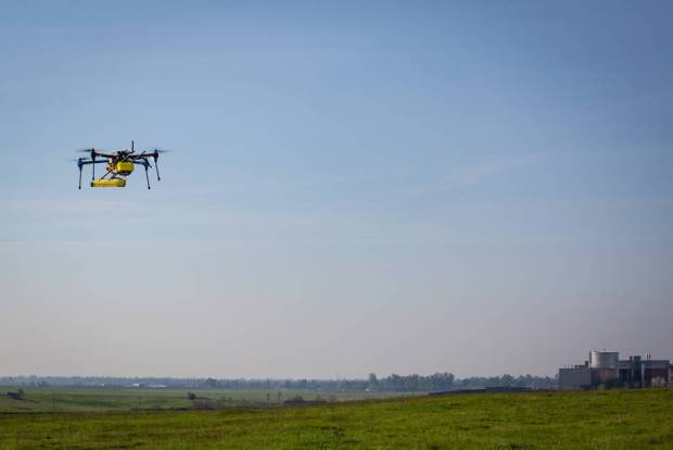 A JPL mini methane gas sensor is flight tested on a small unmanned aerial