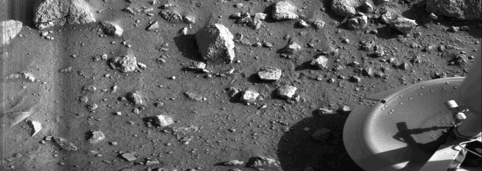 First photo taken on Mars in 1976 by Viking 1.