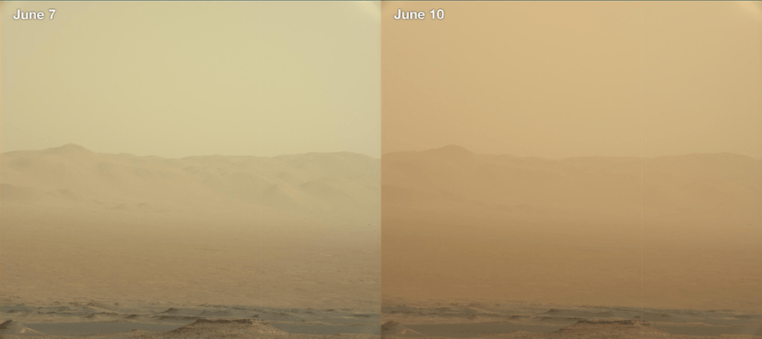 Two views from NASA's Curiosity rover