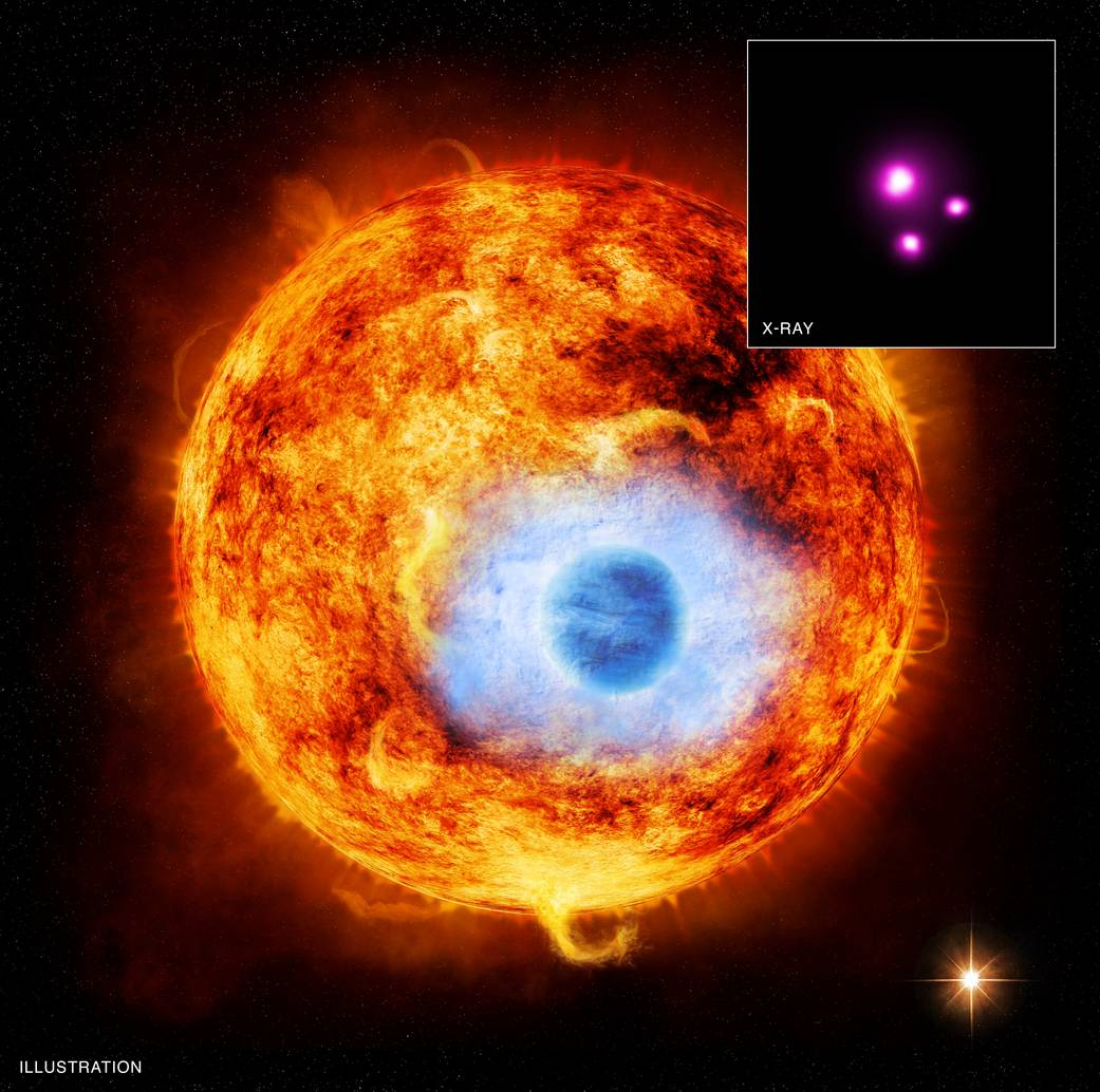 This graphic depicts HD 189733b, the first exoplanet caught passing in front of its parent star in X-rays.