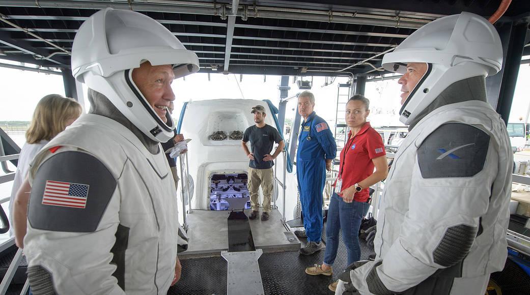 NASA astronauts Doug Hurley, left, and Bob Behnken