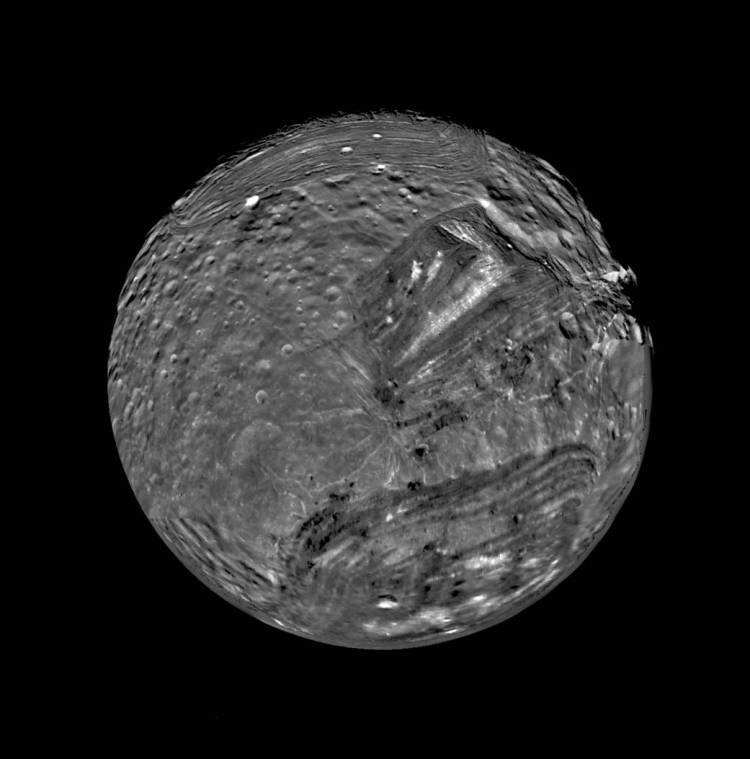 Miranda as seen by Voyager 2