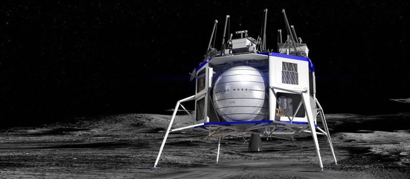 Artist's concept of a Blue Origin commercial lunar lander on the Moon. Image credit: Blue Origin Corp.