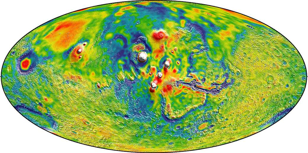 Gravity map of Tharsis volcanoes