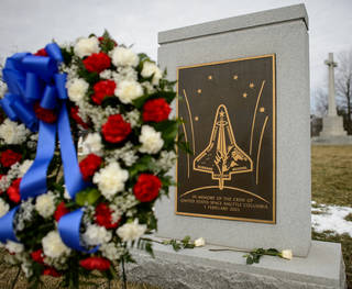 The Space Shuttle Columbia Memorial is seen after a wreath laying ceremony that was part of NASA's Day of Remembrance in 2014.