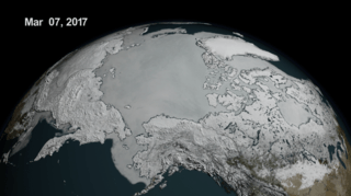 visualization of Arctic sea ice extent on March 7, 2017