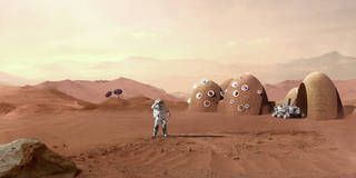 artist's concept of a Mars habitat