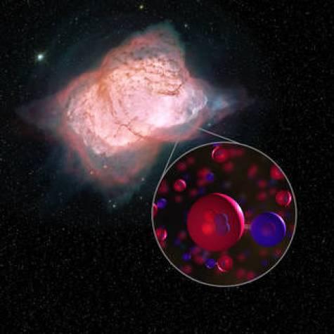 Ilustrație a moleculelor de nebuloasă planetară NGC 7027 și hidrură de heliu.