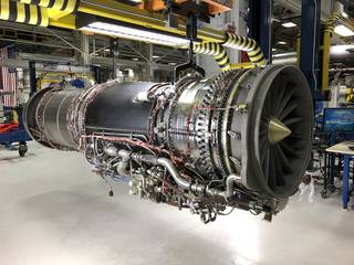 The F414-GE-100 engine sits in the assembly area at GE Aviation's Riverworks facility.