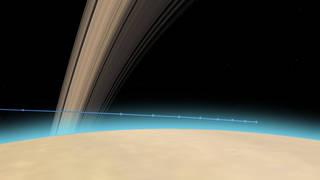 Cassini's path into Saturn's upper atmosphere, with tick marks every 10 seconds.