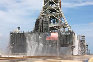A water flow test was conducted on Sept. 30, 2019 at Launch Pad 39B at NASA's Kennedy Space Center in Florida.